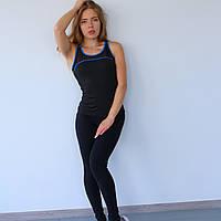 Майка спортивная женская Gt черная с синими кантом