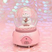 """Музыкальный снежный шар с автоподдувом """"Guard you"""" Хомяк, Размер:17 см, Цвет Розовый"""