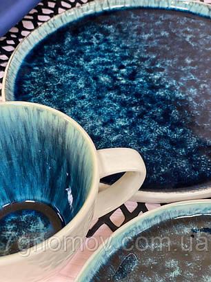 Набор 6 керамических синих тарелок Лазурит 21 см, фото 2