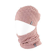 Вязаная шапка с Buff снуд КАНТА женский размер взрослый, пудра (OC-079)