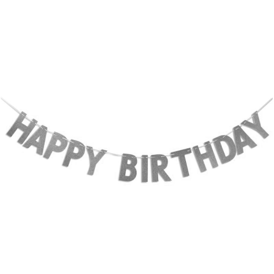 Гирлянда Happy Birthday серебро