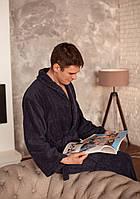 Банный набор Daymoni с именной вышивкой халат с капюшоном S+тапочки синий, фото 1