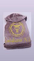 Женский халат Daymoni с именной вышивкой Пудра с капюшоном L
