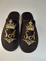 Тапочки домашние Daymoni с вышивкой махра-велюр махра-велюр коричневые 34