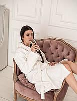 """Банный женский халат Daymoni с именной вышивкой """"Princess"""" махра белый халат XS, фото 1"""