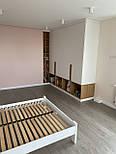 Длинная дизайнерская мебельная ручка планка деревянная орех, фото 7