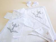 Крестильный набор DAYMONI с именной вышивкой, крыжма, носочки, чепчик , рубашка 62 см