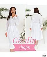 Легкое женское платье-рубашка большого размера белого цвета