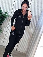 Женский спортивный костюм, турецкий трикотаж, S/M/L/XL, цвет черный, фото 1