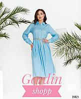 Легкое женское платье-рубашка большого размера голубого цвета