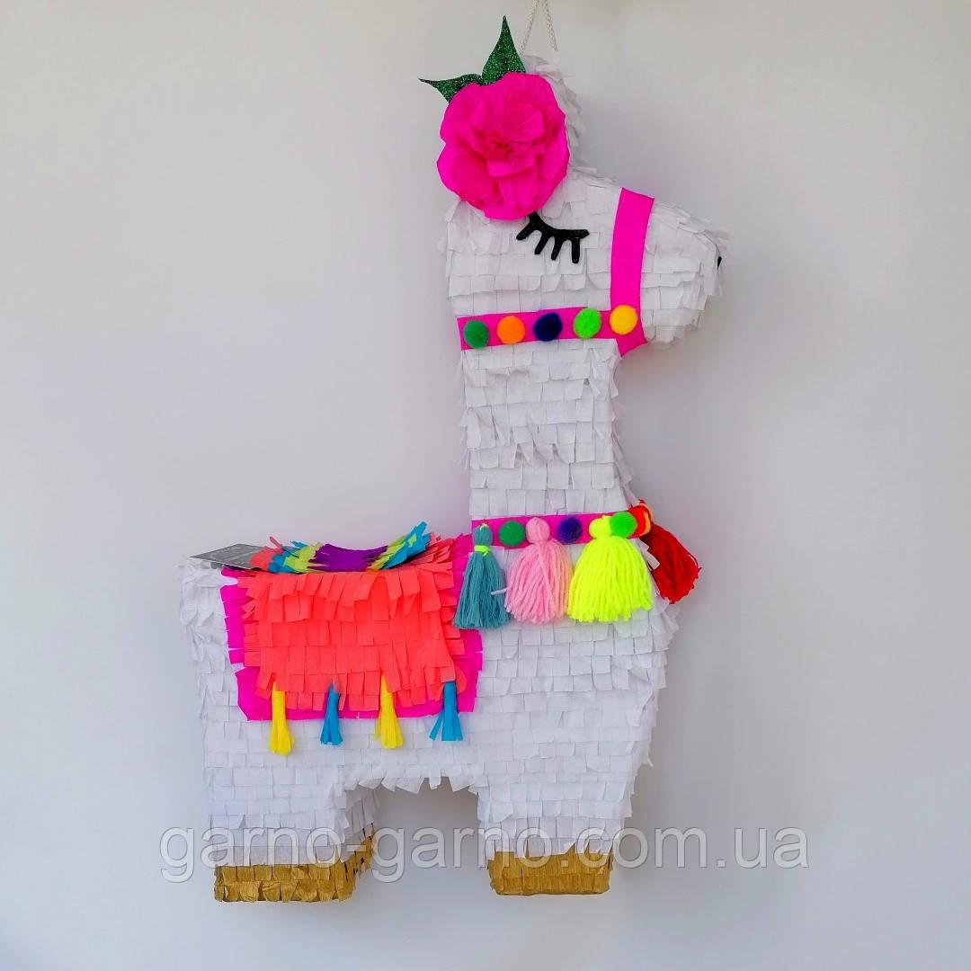 Красивая пиньята лама пината на день рождения бумажная для праздника яркая Лама пиньята для девочки белая лама