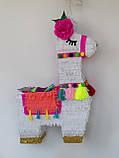 Красивая пиньята лама пината на день рождения бумажная для праздника яркая Лама пиньята для девочки белая лама, фото 6