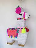 Красивая пиньята лама пината на день рождения бумажная для праздника яркая Лама пиньята для девочки белая лама, фото 9