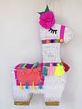 Красивая пиньята лама пината на день рождения бумажная для праздника яркая Лама пиньята для девочки белая лама, фото 8