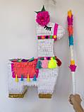 Красивая пиньята лама пината на день рождения бумажная для праздника яркая Лама пиньята для девочки белая лама, фото 10