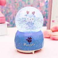 """Музыкальный снежный шар с автоподдувом """"Beautiful"""" Оленёнок, Размер:17 см, Цвет Фиолетовый"""