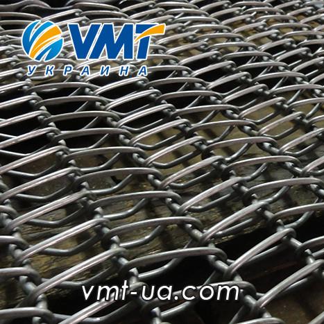 Сетка транспортерная с цепью с канилированным стержнем  Шаг цепи 9,525
