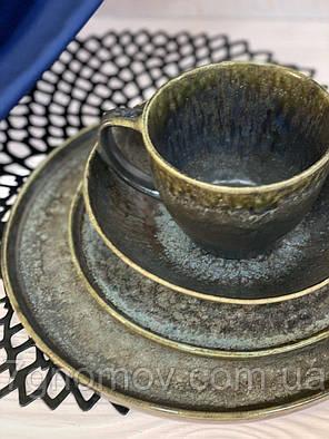 Набор 6 керамических тарелок серо-коричневых Хризолит 21 см, фото 2