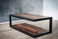 Журнальный стол из дерева и метала ручной работы