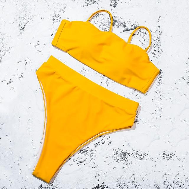 Купить желтый купальник на бретелях