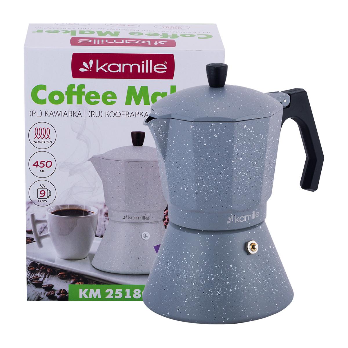 Кофеварка Kamille гейзерная 450мл (9 порций) из алюминия с широким индукционным дном KM-2518GR
