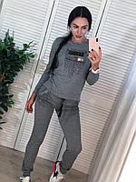 Стильный спортивный костюм, турецкий трикотаж, S/M/L/XL, цвет серый, фото 1