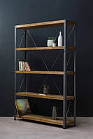 Стеллаж для книг из дерева и металла