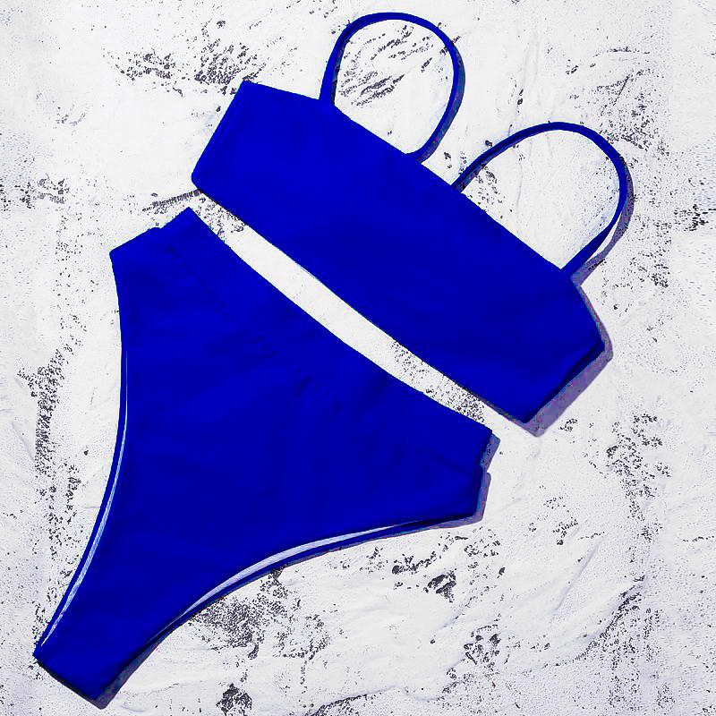Яскраво-синій купальник бандо з чашками + високі бразиліана S, М