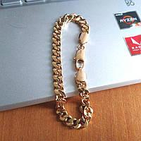 Мужской браслет xuping панцирный размер 20х0.6 см вес 14.7 г позолота 18К