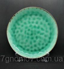 Набор 6 больших обеденных керамических зеленых тарелок Малахит 27,5 см, фото 2