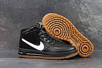 Мужские кроссовки  Nike Lunar Force 1 (найк аир форс 1 высокие, кожа, черно белые)