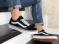 Мужские демисезонные кеды Vans Old Skool, замшевые, черно белые в стиле Ванс