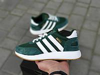 Женские кроссовки Adidas Iniki Runner Green в стиле Адидас Иники, замша, темно зеленые