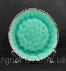 Набір 6 керамічних зелених тарілок Малахіт 21 см