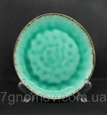 Набор 6 керамических зеленых тарелок Малахит 21 см, фото 2