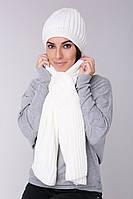 Женский Шарф крупной вязки белый, 60% акрил 30% шерсть 10% эластан