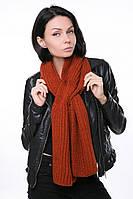 Женский Шарф крупной вязки оранжевый, 60% акрил 30% шерсть 10% эластан