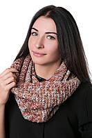 Женский Снуд с абстрактным плетением терракот меланж, 50% шерсть 50% акрил