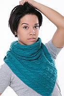 Женский Снуд с косами петроль, 60% акрил 30% шерсть 10% эластан Пряжа