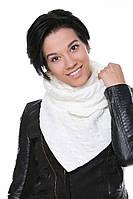 Женский Снуд с косами белый, 60% акрил 30% шерсть 10% эластан Пряжа