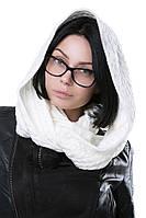 Женский Снуд Вязаный белый с косами 60% акрил 30% шерсть 10% эластан Мотя