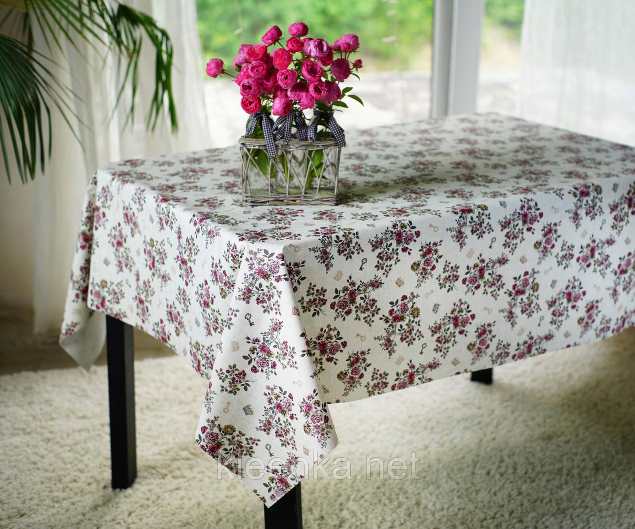 Клеенка с розочками на тканевой основе в кафе, столовую, для дома