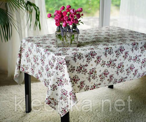 Клеенка с розочками на тканевой основе в кафе, столовую, для дома, фото 2