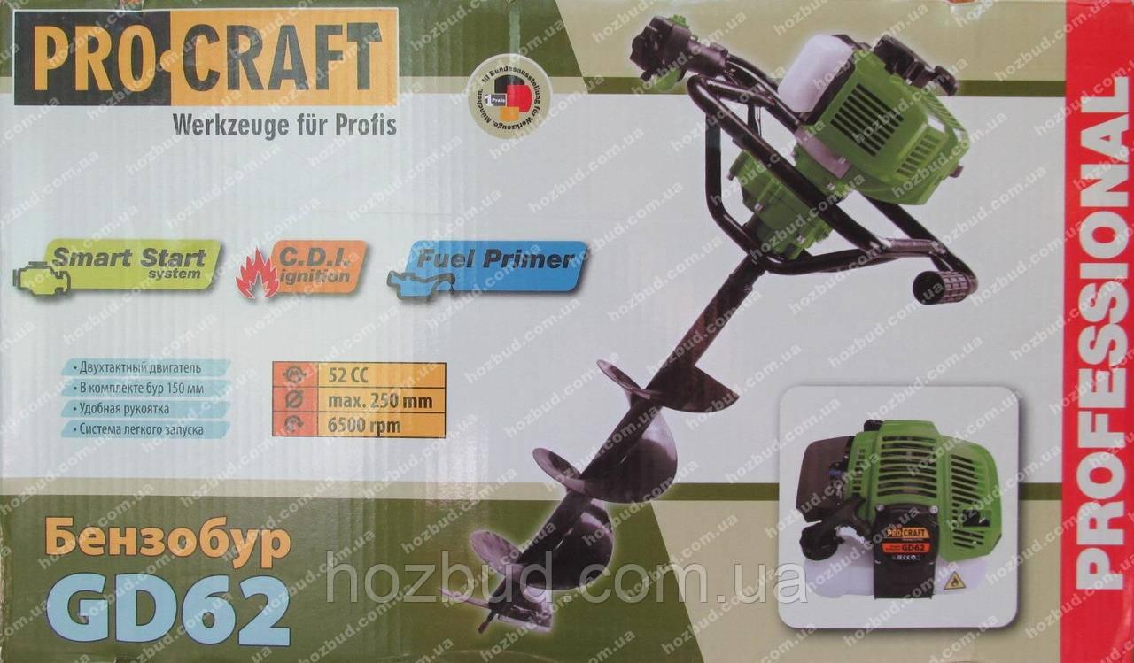 Бензобур Procraft GD62 (52 куб. см., шнек 150 мм)