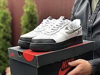 Кроссовки мужские  Nike Air Force, Найк Аир Форс белые с черным, демисезонные 45