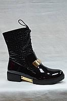 Стильные черные лакированные ботинки Erisses на низком каблуке со шнурками и молнией. Маленькие размеры., фото 1