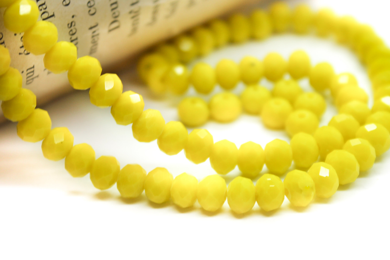 Бусины сваровски рондель огранка 6х4мм, 92шт. Цвет 42 желтый