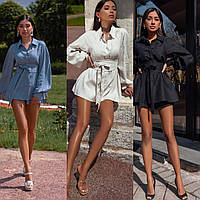 Костюм женский льняной, свободная длинная рубашка и шорты, офисный, модный, повседневный, стильный