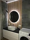 Круглое зеркало в черном цвете с подсветкой 800 мм, фото 2