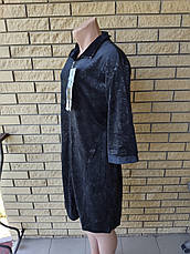 Халат женский велюровый на молнии, с врезными боковыми карманами, большие размеры XIANG, фото 3
